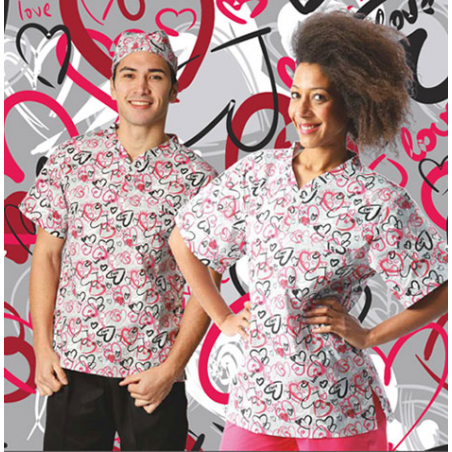 Casaca unisex Workteam Corazones Love Antimanchas
